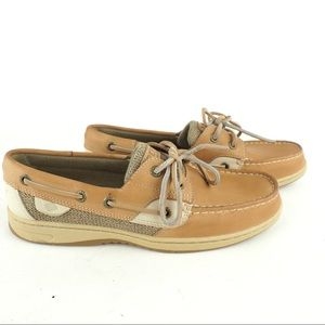 Like new Sperry sz 8 tan leather dock shoes